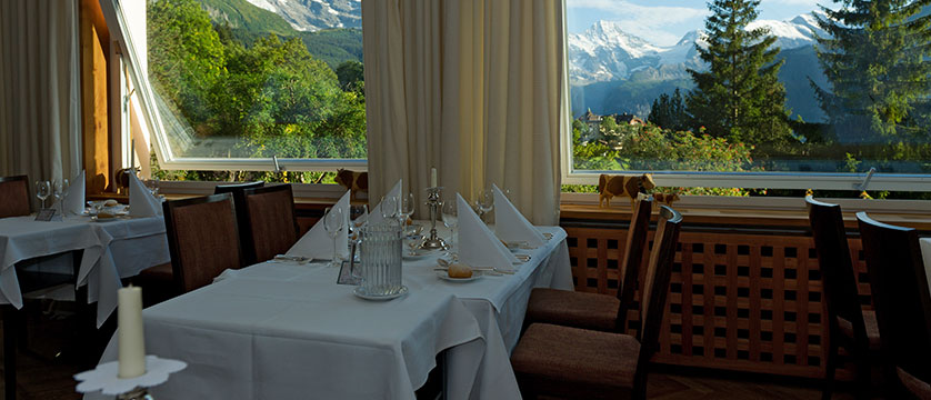 Beausite Park & Jungfrau Spa, Wengen, Bernese Oberland, Switzerland - restaurant with a view.jpg